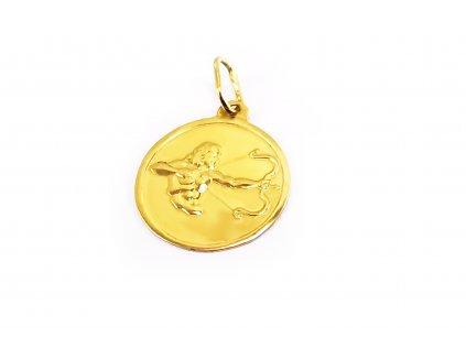 Okrúhly prívesok znamenie Strelec zo žltého zlata  +servis + krabička
