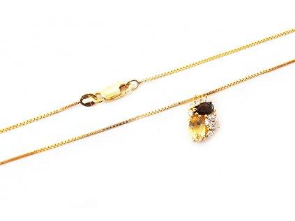 Dámsky náhrdelník zo žltého zlata  s farebnými zirkónmi  +servis + krabička