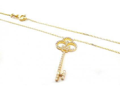 "Zlatý náhrdelník ""KĽÚČIK"" žltý  +servis + krabička"