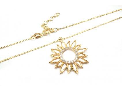 """Zlatý náhrdelník """"SLNKO"""" žltý  +doživotný servis + krabička, darček"""