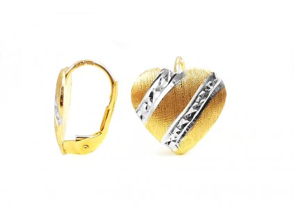 Zlaté náušnice SRDIEČKA kombinované žlto-biele  +servis + krabička