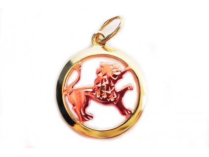 Prívesok znamenie Lev zo žlto-ružového zlata