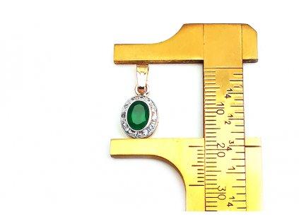 Prívesok z kombinovaného bielo- žltého zlata s ústredným zeleným zirkónom  +doživotný servis + krabička