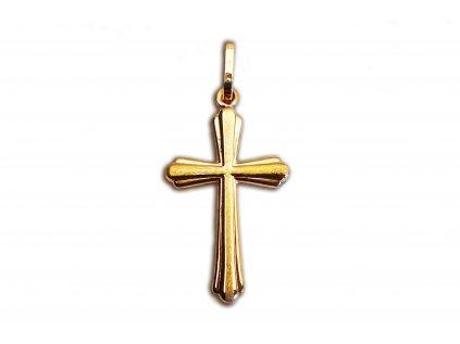 Plastický prívesok v tvare kríža zo žltého zlata  +servis + krabička, darček