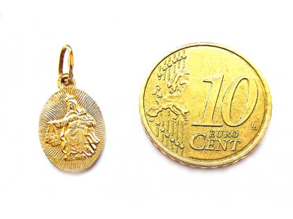 Jemný obojstranný prívesok ŠKAPULIAR zo žltého zlata s Ježiškom a Madonou  + servis # GIFTS # krabička