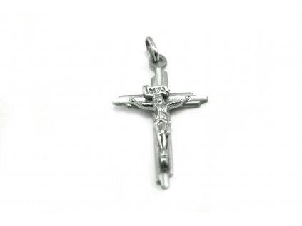 Právesok v tvare Kríža s plastickým Ježiškom z bieleho zlata  +servis + krabička, darček