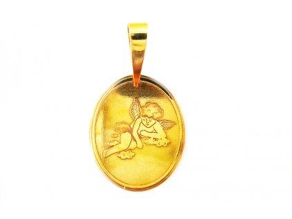 Prekrásny gravírovaný prívesok anjelik zo žltého zlata  + krabička, darček