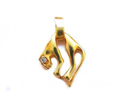 Elegantný prívesok pumy zo žltého zlata  +servis + krabička, darček