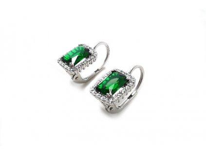 Elegantné náušnice so zeleným zirkónom z bieleho zlata  +servis + krabička, darček