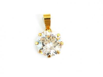 Jedinečný zirkónový prívesok zo žltého zlata s krásnym zirkónovým brusom brusom  + servis # GIFTS # krabička