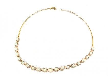 Prekrásny náhrdelník zo žltého zlata s opálom  + doživotný servis + krabička, darček