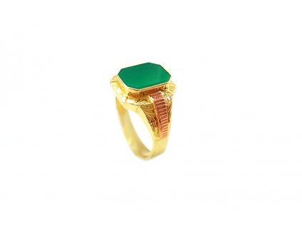 Pánsky prsteň so zeleným kameňom v kombinovanom žlto-červenom zlate  +doživotný servis + krabička, darček
