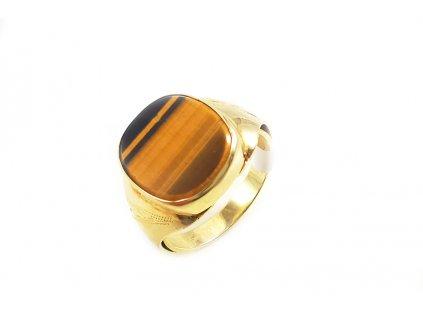 Pánsky prsteň s kameňom tygrie oko v žltom zlate  + doživotný servis + krabička, darček