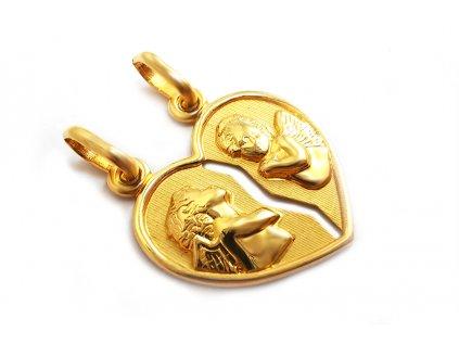 Nádherný prívesok anjelik zo žltého zlata  +servis + krabička, darček