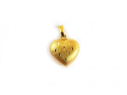 Plastický matovaný prívesok srdce zo žltého zlata  +servis + krabička