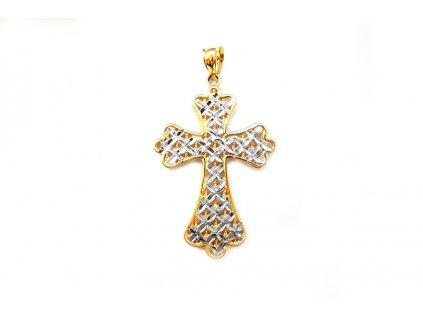 Extravagantný vyrezávaný prívesok Krížik zo žltého zlata s porhódiovanými časťami  +servis + krabička, darček