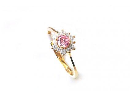 Nádherný zásnubný prsteň v tvare kvietka zo žltého zlata s ružovým a bielymi zirkónmi  +servis + krabička, darček