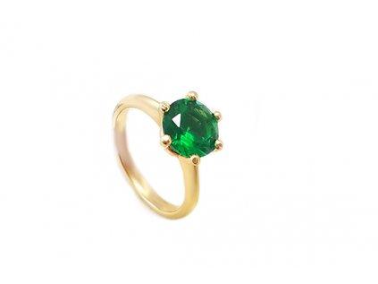 Elegantný zásnubný prsteň zo žltého zlata so zeleným kameňom  +servis + krabička, darček