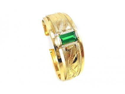 Zlatý psteň VZOR 768 zo žltého zlata so zeleným zirkónom  +servis + krabička, darček