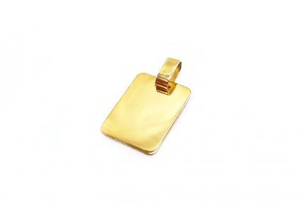 """Prívesok """"Platnička"""" zo žltého zlata - vhodný na gravírovanie  + servis # GIFTS # krabička"""