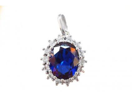 Prívesok Diana z bieleho zlata s modrým kameňom  +servis + krabička, darček