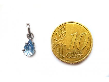 Prívesok z bieleho zlata s nebovo modrým kameňom v tvare kvapky  +servis + krabička