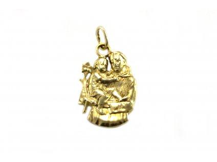 Masívny prívesok s náboženským motívom zo žltého zlata  +servis + krabička, darček