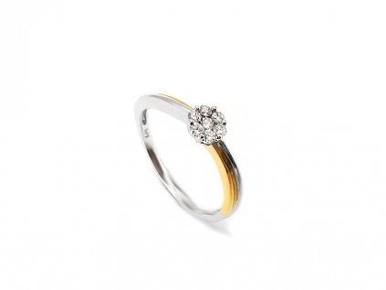 Briliantový prsteň v kombinácii bieleho a žltého 14 karátového zlata  +servis + krabička, darček