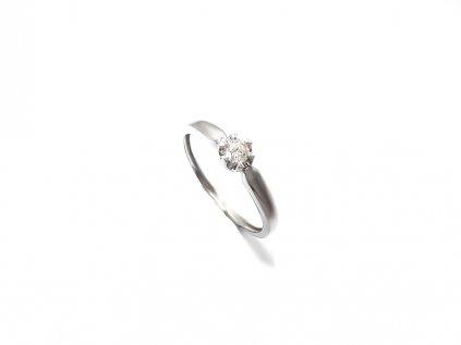 Briliantový 14 karátový prsteň z bieleho zlata  +servis + krabička, darček