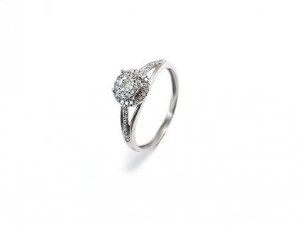Briliantový prsteň z bieleho 14 karátového zlata  +servis + krabička, darček