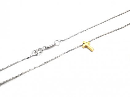 Dámska elegantná retiazka celebritka z bieleho zlata s jemným krížikom  + servis # GIFTS # krabička