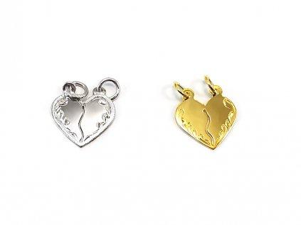 Zlatý prívesok v tvare srdca - ROZLAMOVACÍ  +servis + krabička