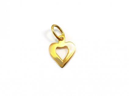 Prívesok srdce zo žltého zlata  +servis + krabička