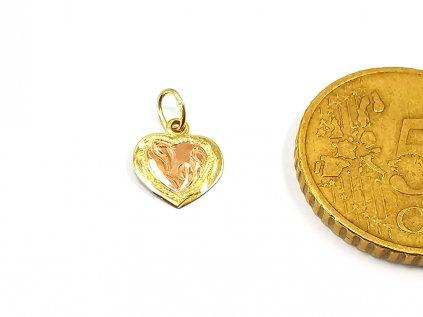 Prívesok srdce z ružovo-žltého zlata  +servis + krabička