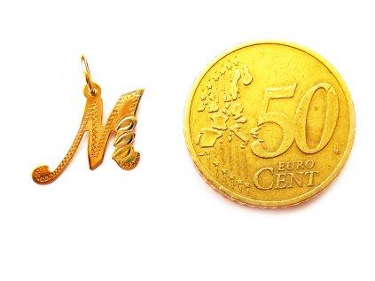 """Prívesok v tvare písmena """"M"""" zo žltého zlata  + servis a krabička, darček"""