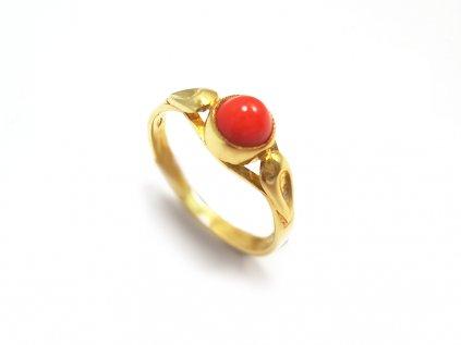 Zlatý dámsky koralový prsteň  + servis # GIFTS # krabička