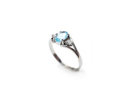 Briliantový prsteň z bieleho 14 karátového zlata  +servis + krabička