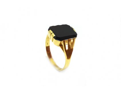 Pánsky prsteň s čiernym ónyxom  +doživotný servis a krabička a darček