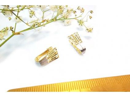 Náušnice zo žltobieleho zlata  +doživotný servis a krabička a darček