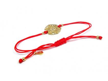 """Červený náramok proti urieknutiu """"MANDALA"""" zo žltého zlata  + servis a krabička, darček"""