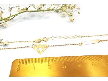 """Zlatý náhrdelník """"DIAMANT"""" žltý  + servis a krabička, darček"""