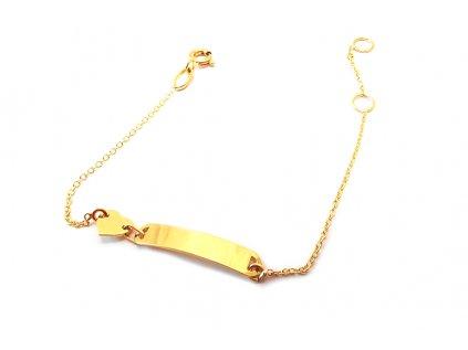 Detský náramok zo žltého 14 karátového zlata  + servis a krabička, darček