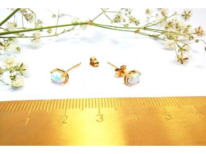 Opálové náušnice zo žltého zlata  + servis a krabička, darček