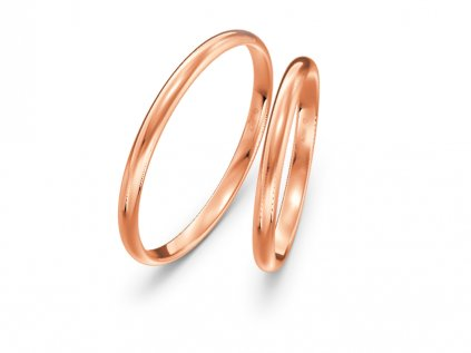 Svadobné obrúčky šírka 2mm z ružového zlata