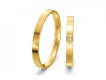 SSvadobné obrúčky ploché 2,50mm zo žltého zlata
