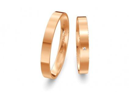 Svadobné obrúčky ploché 3mm z ružového zlata