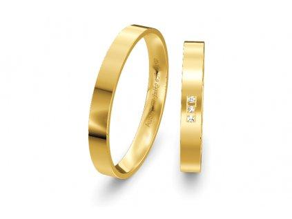 Svadobné obrúčky ploché 3mm zo žltého zlata