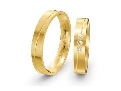 Svadobné obrúčky ploché 4,00mm zo žltého zlata s vlnovkou