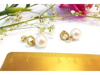 Náušnice s perlami žlté  + servis a krabička, darček