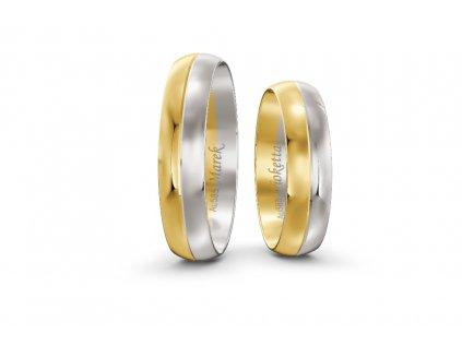 Svadobné obrúčky šírka 5mm kombinované bielo-žlté zlato